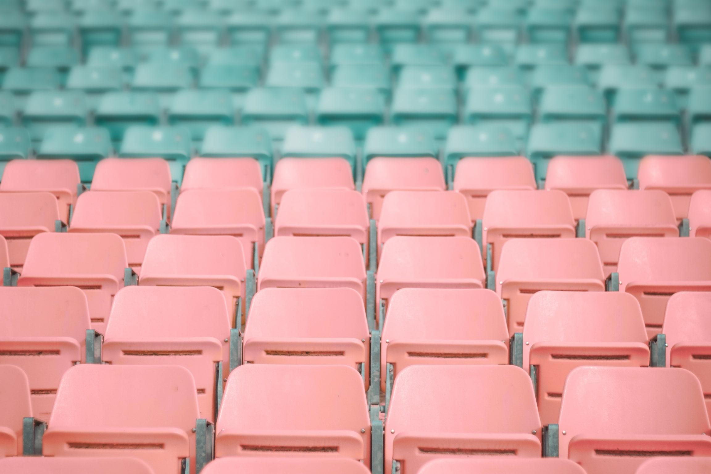 pink and blue stadium plastic seats
